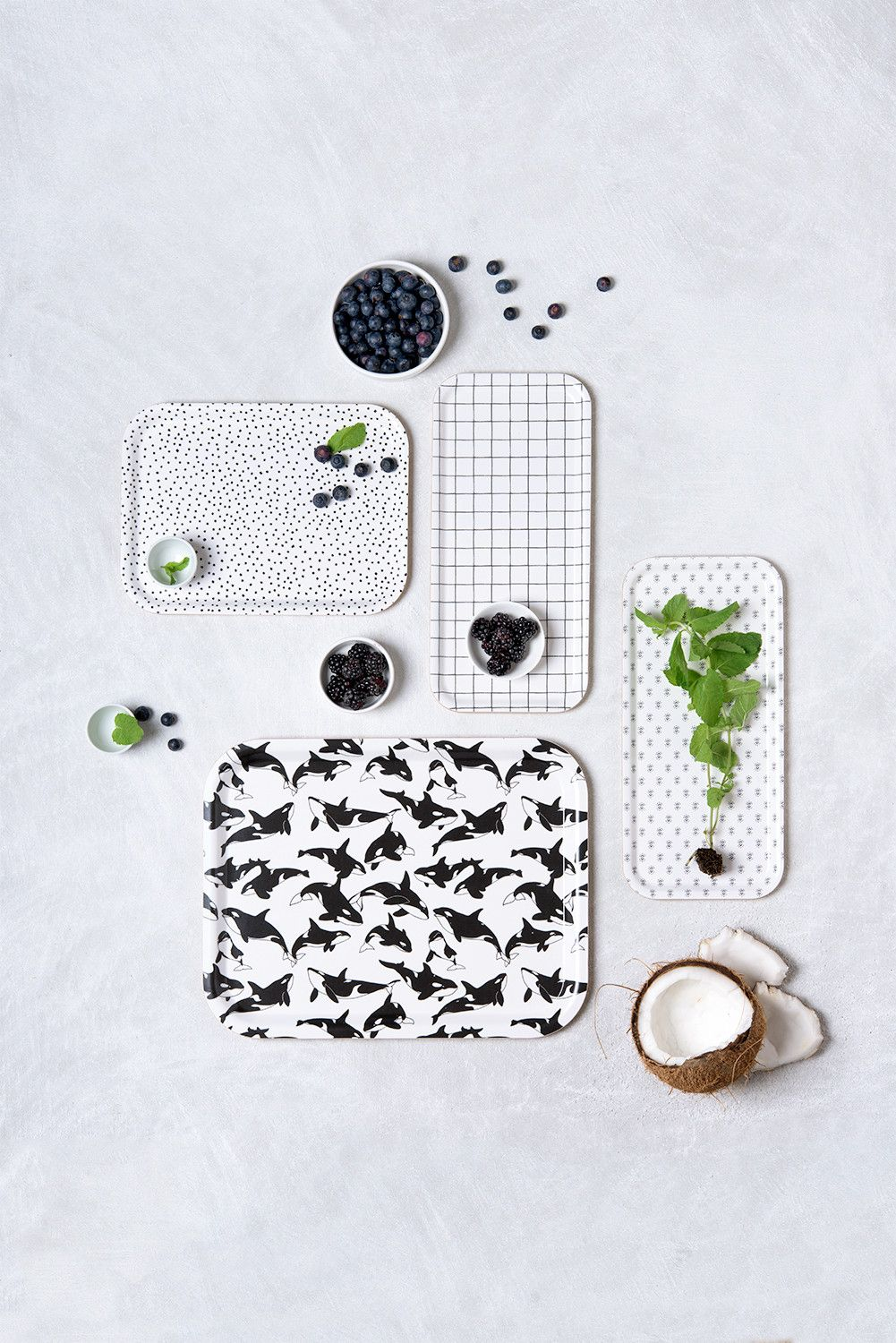Birch Tray - Black and White Orcas Pattern  by © Micush  #Newcollection #tablware #tabletop #tray #orca #scandystyle #modernhome #homedecor #blackandwhite #kitchen #dining