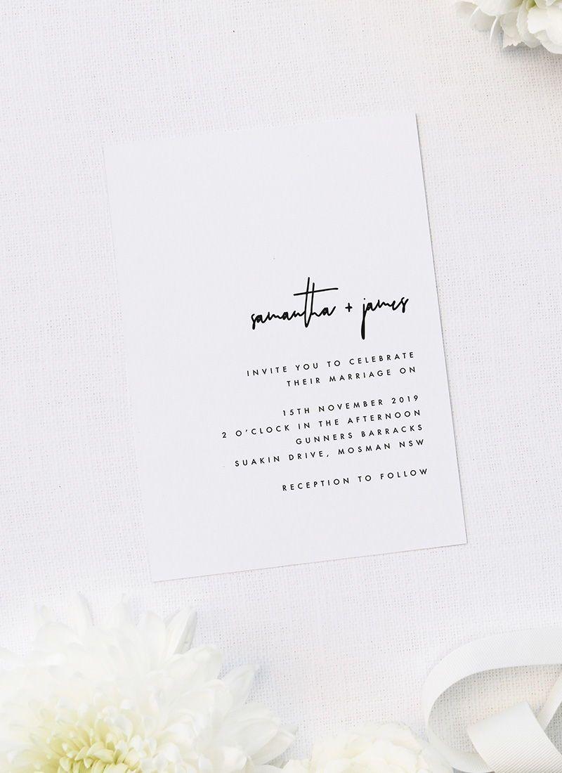 Modern Minimal Contemporary Simple Wedding Invitations