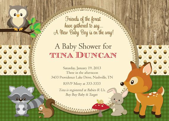 woodland baby shower invitations, forest animals shower invite,