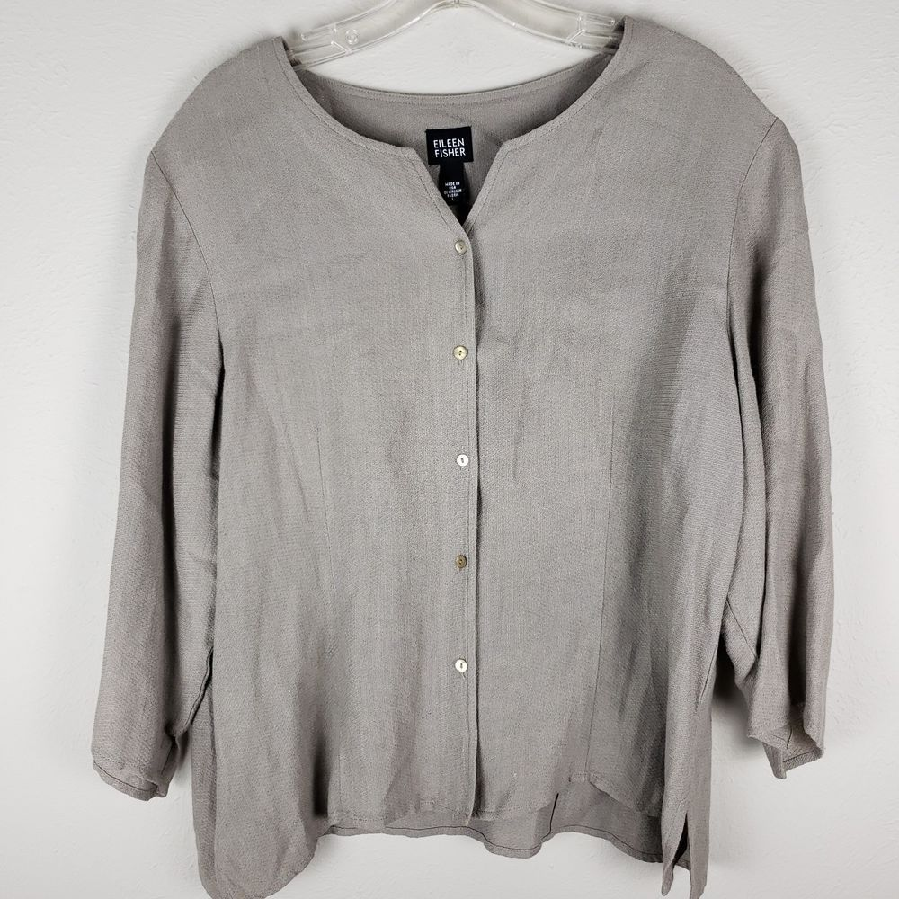 60cc93a0696 EILEEN FISHER Beige 3 4 Sleeve Button Front Boxy Cardigan Shirt Top ...