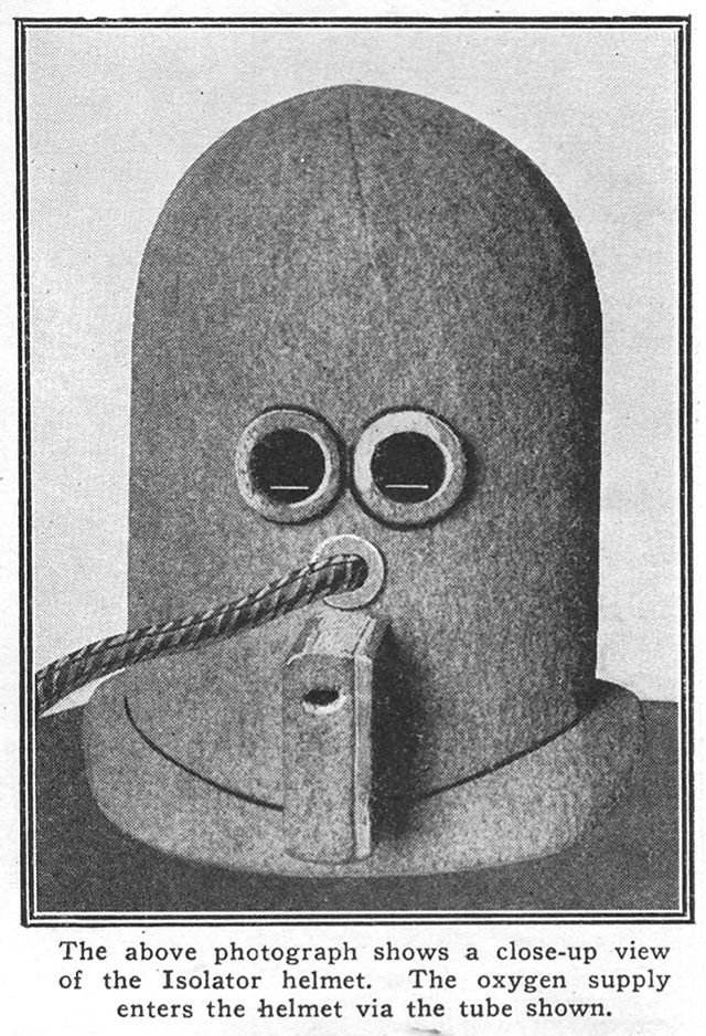 afc83f041bdc The Isolator is a bizarre helmet invented in 1925 that encourages focus and  concentration by rendering the wearer deaf