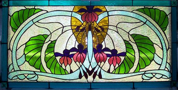 Stained Glass Fuchsia Floral Window Panel by Suncatchercreations