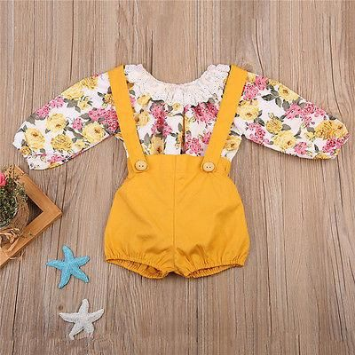 4925e7f0fa2d What s not to love about this perfect outfit  Gorgeous flower romper top  with suspender shorties to match. Sanibelle Romper + Shorts Set for baby  girls.