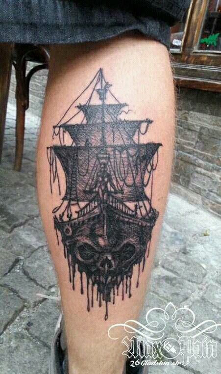 Pirate ghost ship black and grey cunt tattoo by max pain tattoo