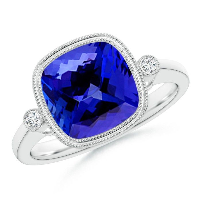 Angara Round Tanzanite Halo Ring with Cushion Milgrain Detailing oR28RBWU