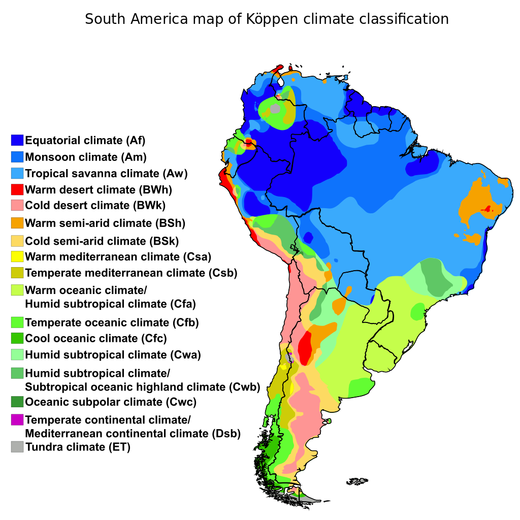 South America map of Kppen climate classification South America