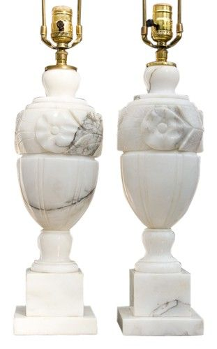 Pair Of Carrera Marble Lamps Vintage