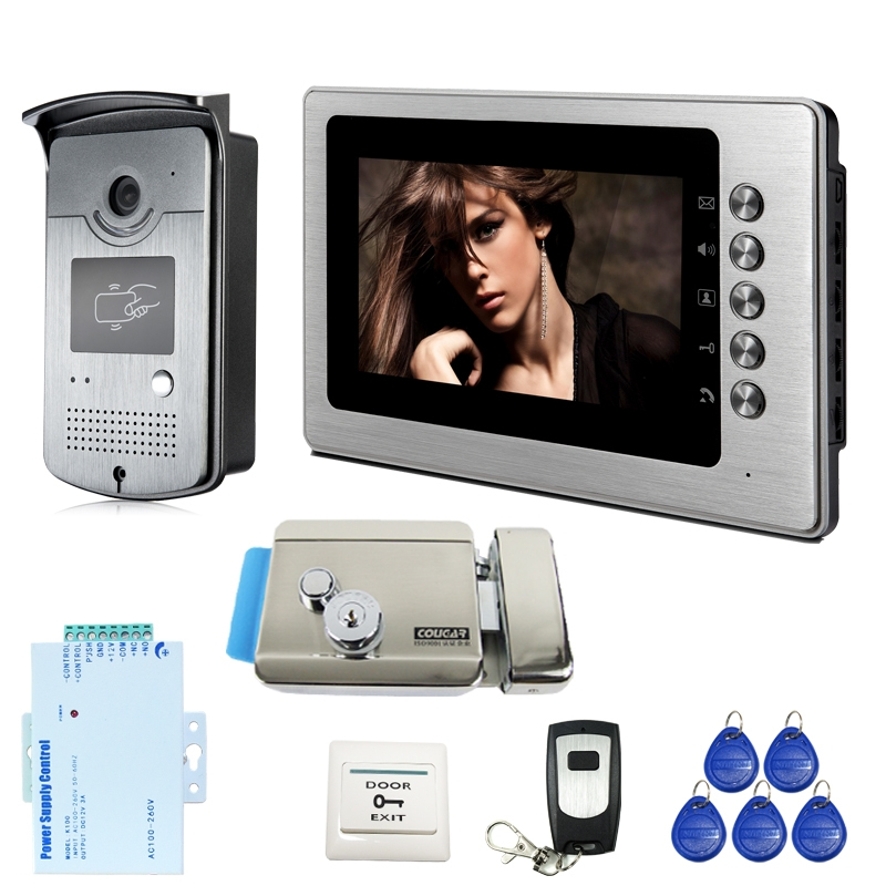 """163.70$  Watch here - http://alizkf.worldwells.pw/go.php?t=32260257216 - """"Free Shipping New Home New 7"""""""" Color Video Intercom Door Phone System 1 Monitor 1 RFID Access Camera + Electric Lock Wholesale"""""""