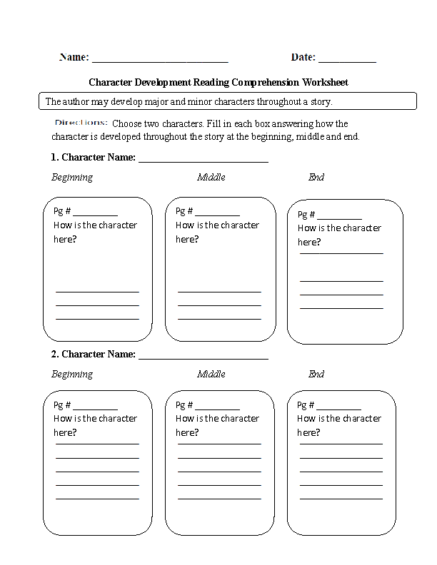 Character Development Reading Comprehension Worksheet ...