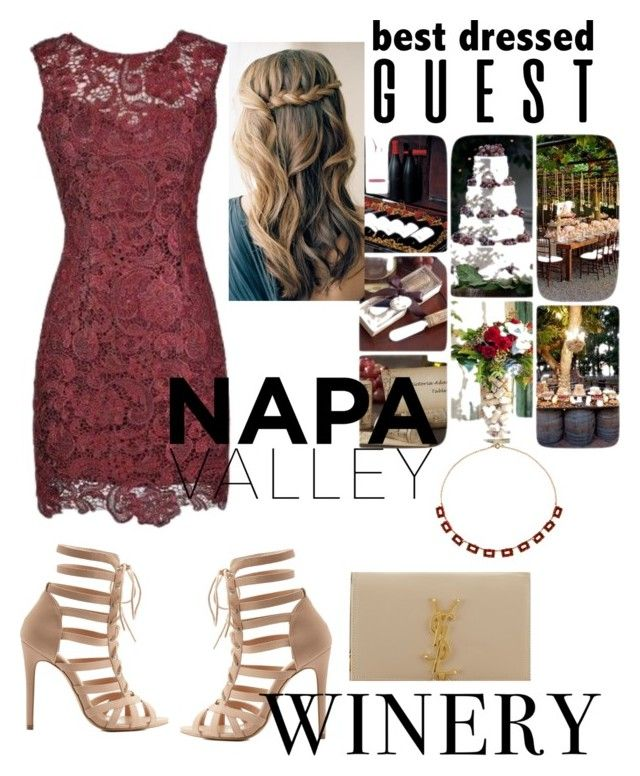 """wedding bells"" by anushkaeliaza ❤ liked on Polyvore featuring Alythea, Charlotte Russe, Yves Saint Laurent, Alice Joseph Vintage, napa, winerywedding, bestdressedguest and vineyardwedding"