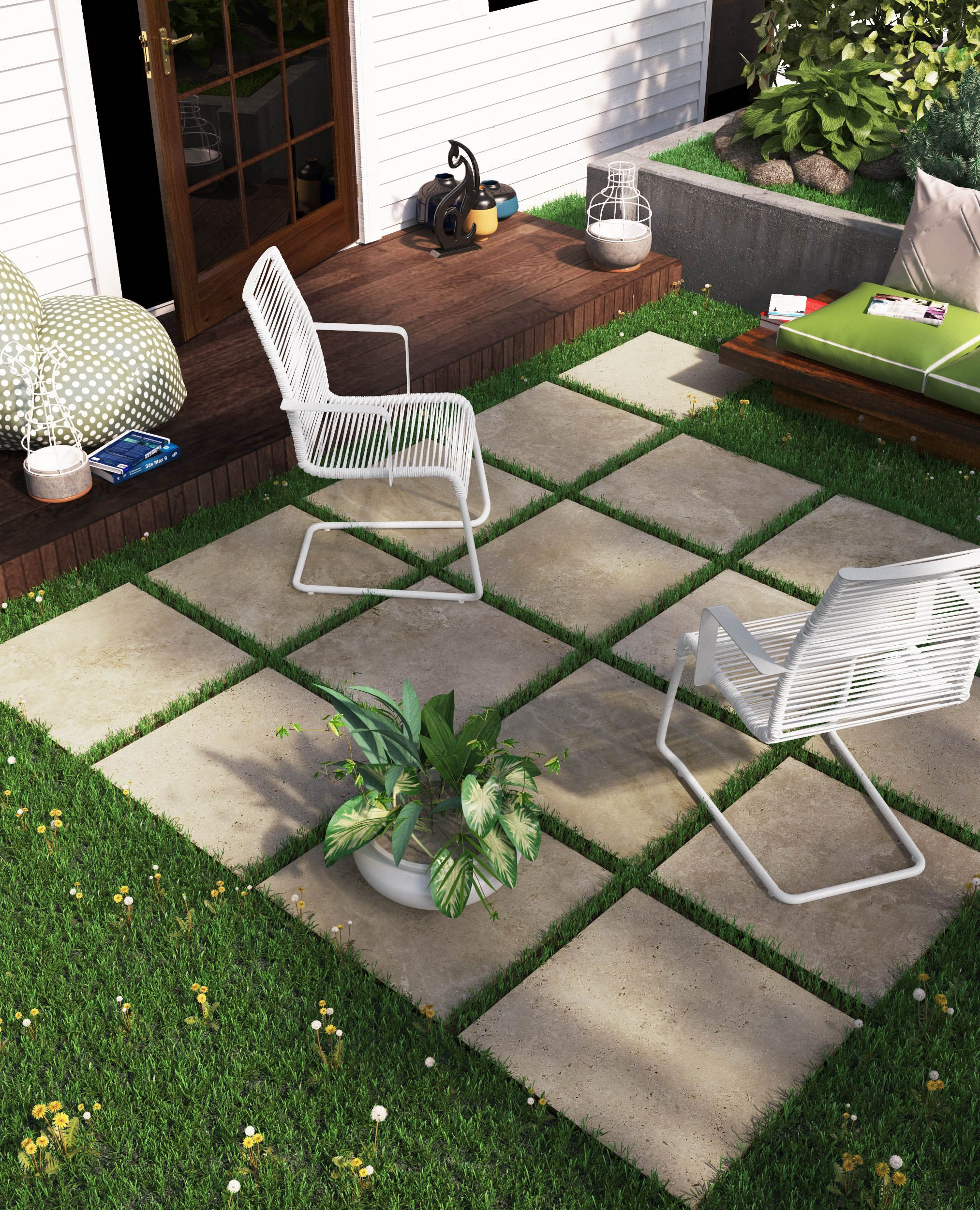 Outdoor patio, sitting area with porcelain patio stones