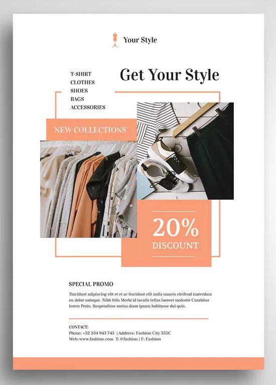 Fashion Flyer Promo Template Psd Mode Design Vorlage Werbedesign Design Ideen