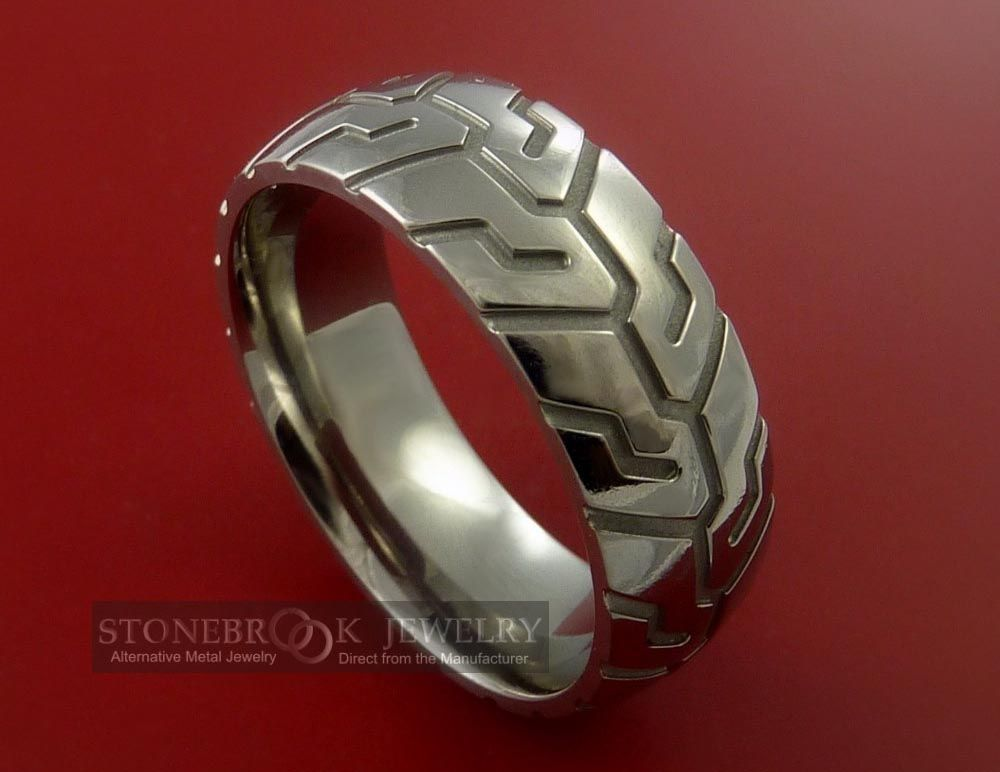 Love It Tire Tread Styled Titanium Ring Biker Wedding Motorcycle Wedding Titanium Rings