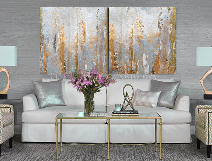 Neutral Wall Art With Real Gold Leaf Set Of 2 Abstract Etsy Neutral Wall Art Gold Wall Art Wall Art Sets
