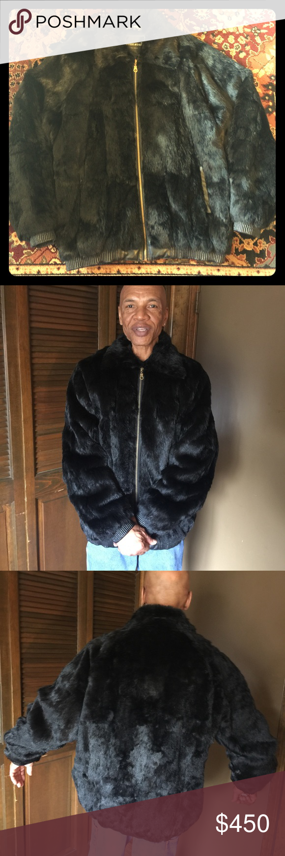 Genuine Fur, With Leather Trim Front Zip Jacket Fur jacket with leather trim on front pockets, sleeves and ribbed bottom. Tanner Leather Jackets & Coats Bomber & Varsity