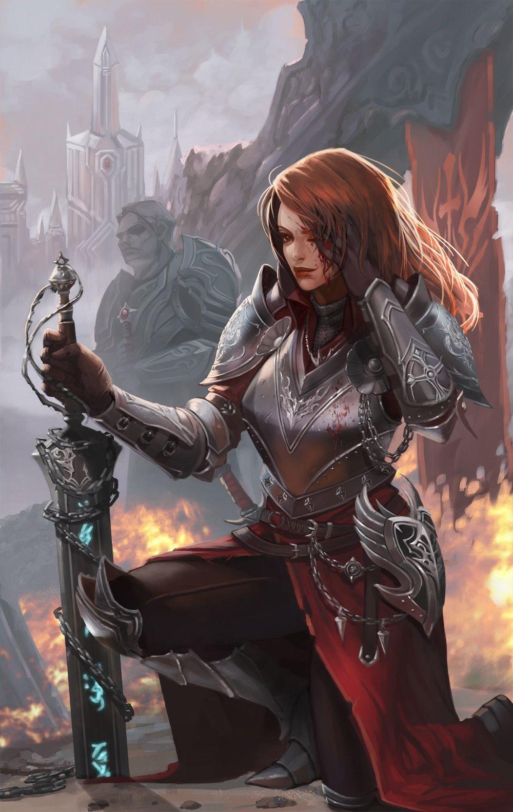 Sosolo knight art by pu reum lee freelance d d in - Fantasy female warrior artwork ...