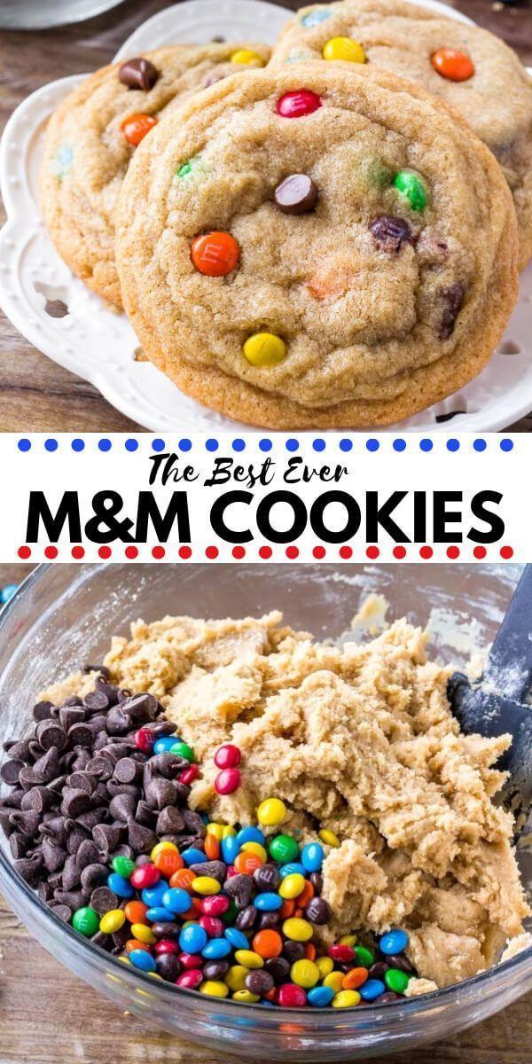 Cookies M&M mous et moelleux #recettes sucrées Ces cookies M&M sont mous, moelleux et gigantesques. C'est une recette de cookie facile qui se révèle comme votre favori ...