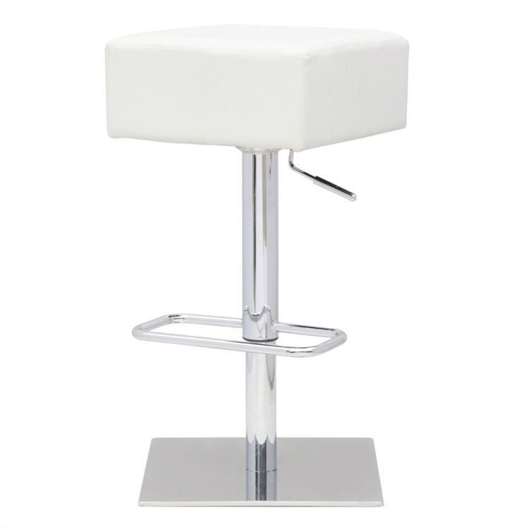 Modern Backless Swivel Adjust Ht Barstool White Faux Leather Seat Bar Stools Adjustable Bar Stools Swivel Bar Stools