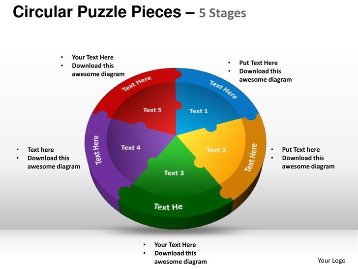 Circular puzzle pieces 5 stages powerpoint templates Powerpoint