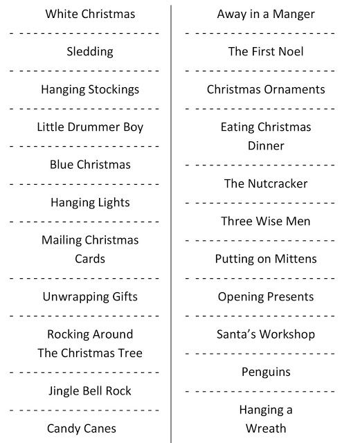 Christmas Charades (free printable party game) Charades, Party - christmas list maker printable