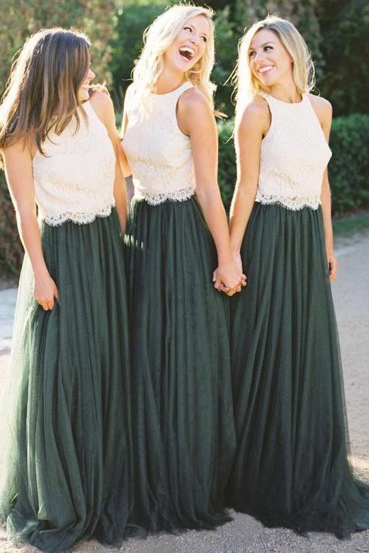 A Line Lace Bodice Green and White Tulle Long  Round Neck Bridesmaid Dresses UK PW285 #lacebridesmaids