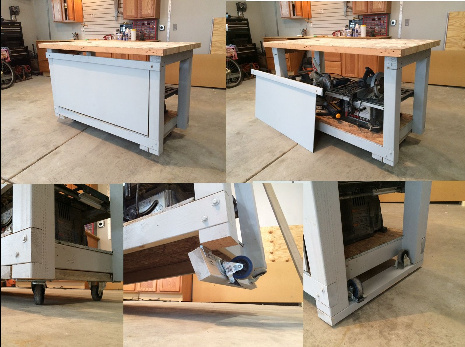 Workbench With Simple Retractable Wheels Just Lift And The