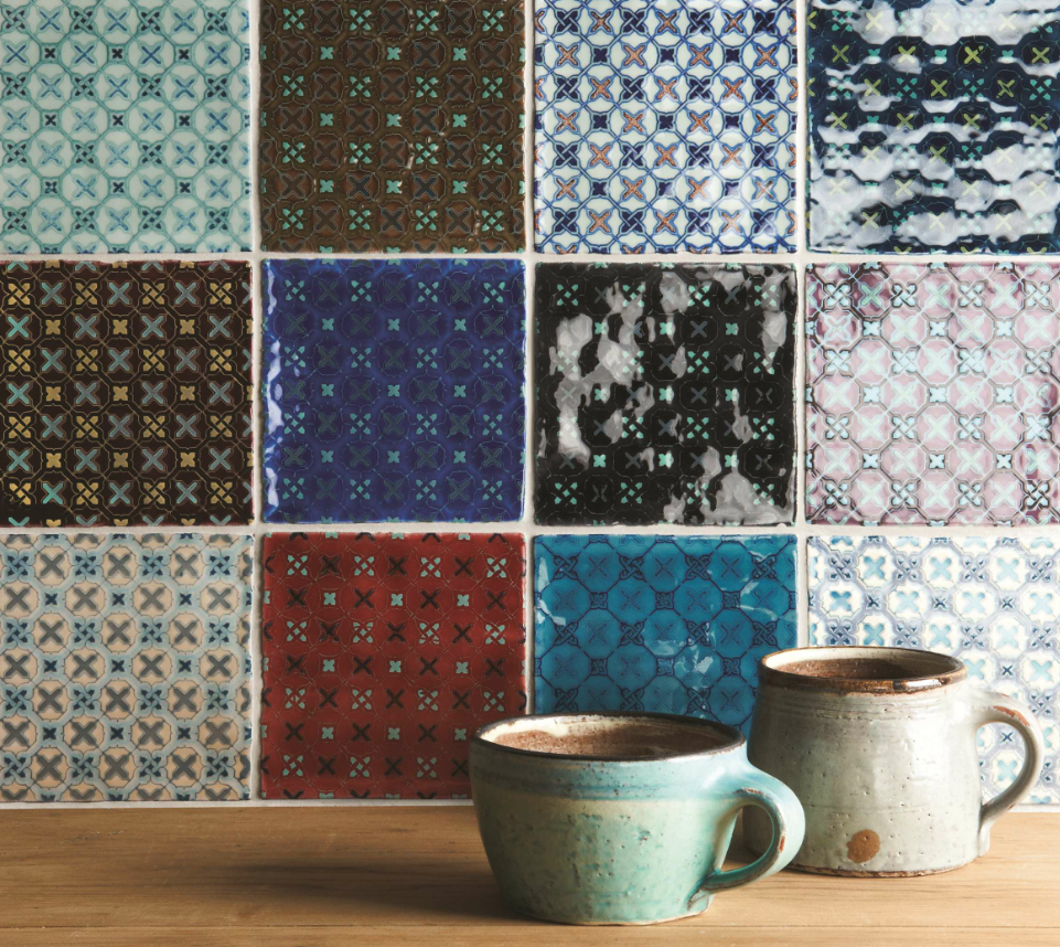 A patchwork approach to a splashback will give your kitchen a unique feel. These characterful tiles are from the Ormeaux range by Winchester Tile Company.