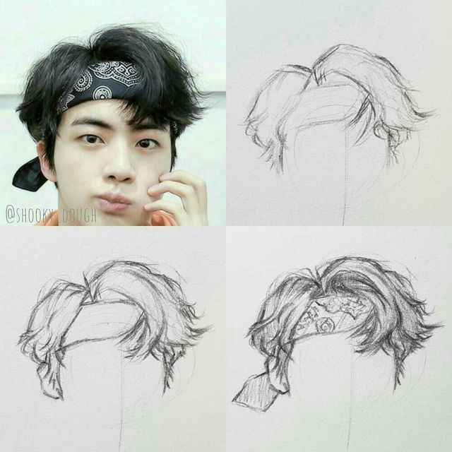 How To Draw Hair Bts Drawings How To Draw Hair Kpop Drawings