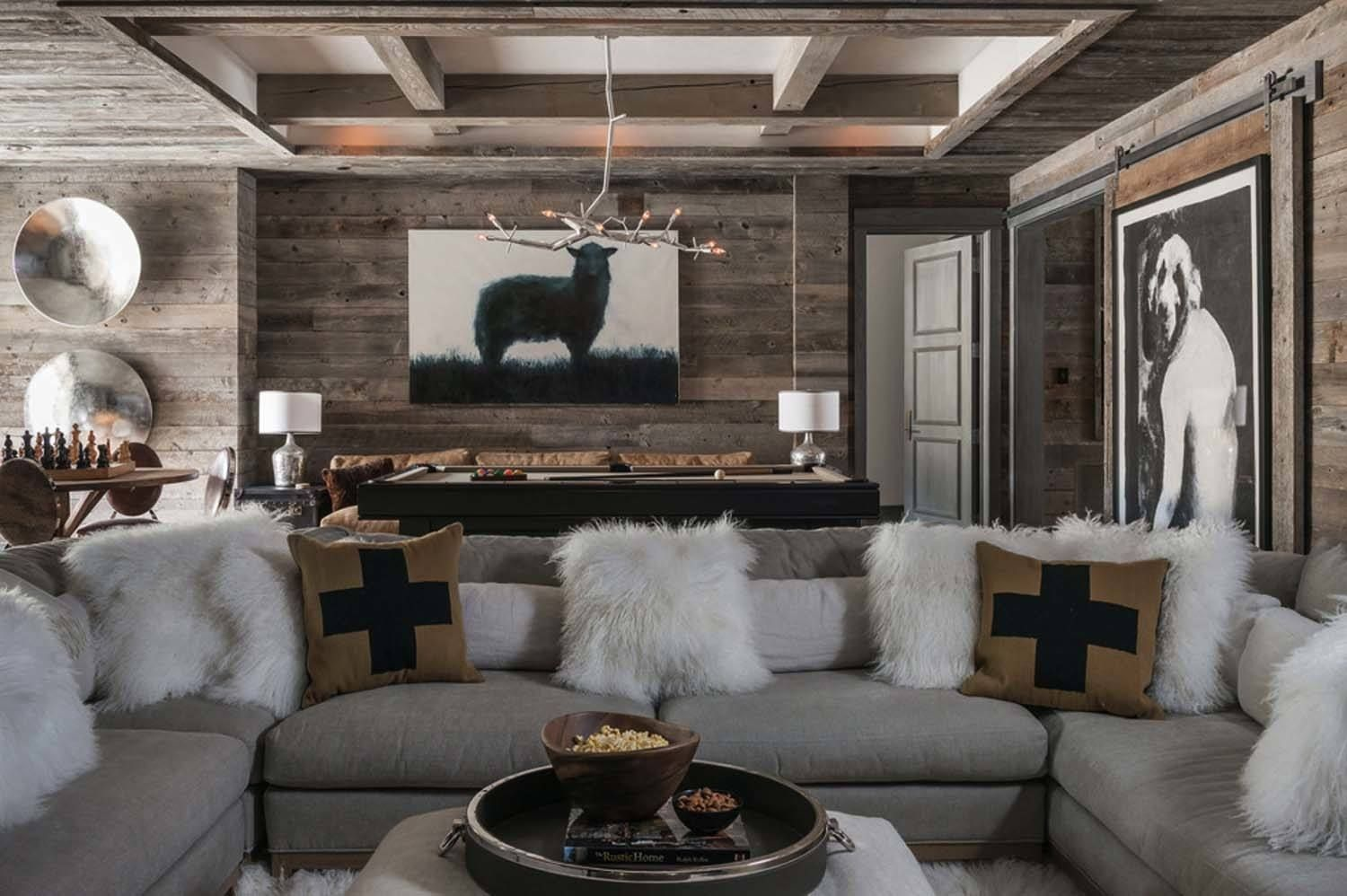 Ski in ski out chalet in montana with rustic modern styling deco