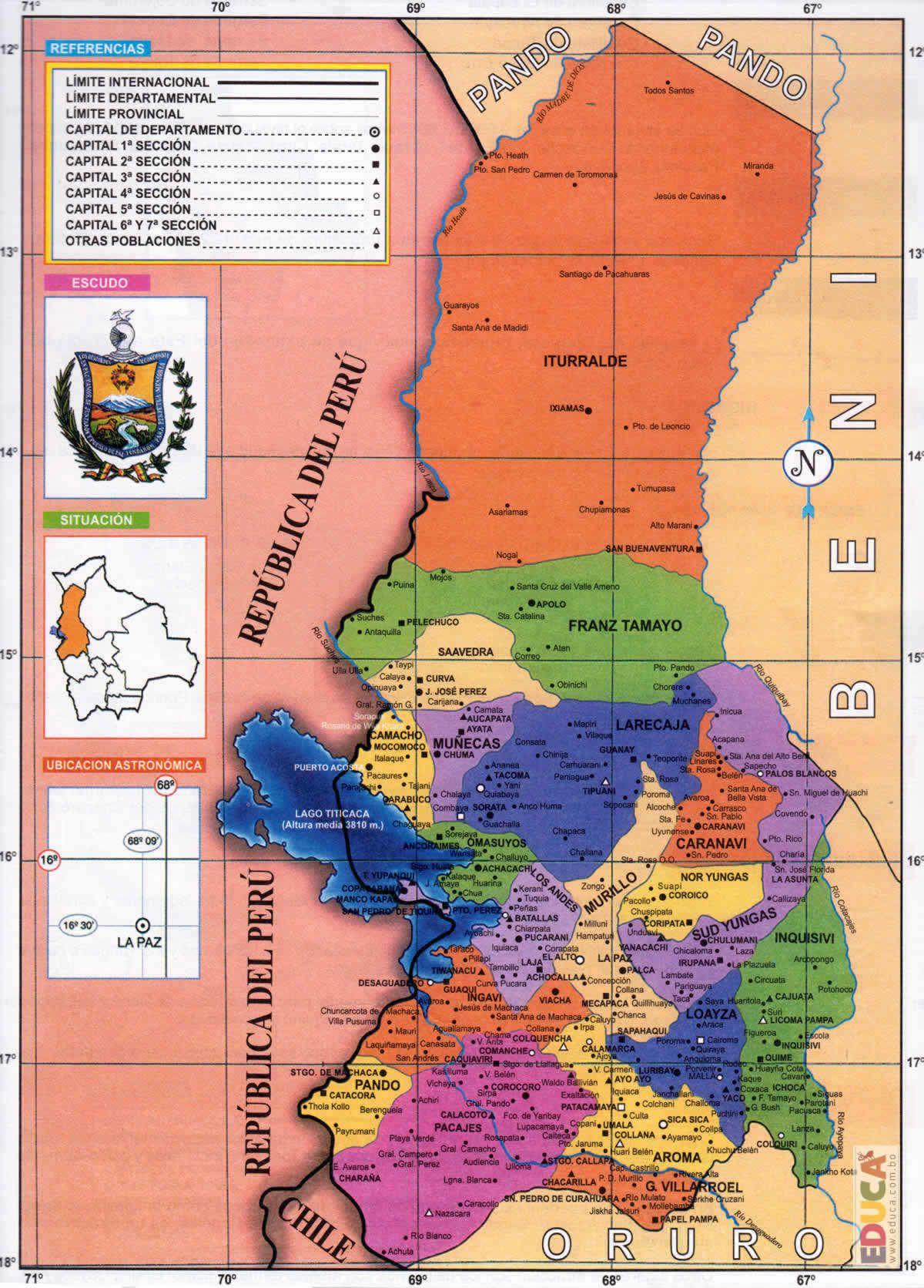 Mapa Politico Del Departamento De La Paz Mapas De Bolivia