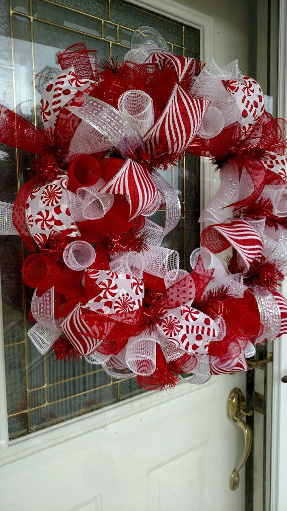 Christmas Wreath / Christmas Deco Mesh Wreath / Deco Mesh Wreath