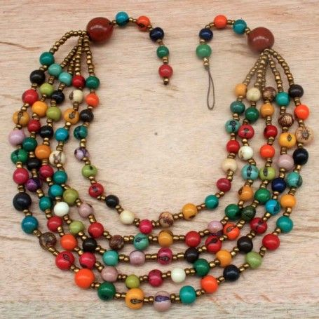 Every Color Beaded Necklace with Acai Seed and Matching Earrings | chunky | bib | eco | organic