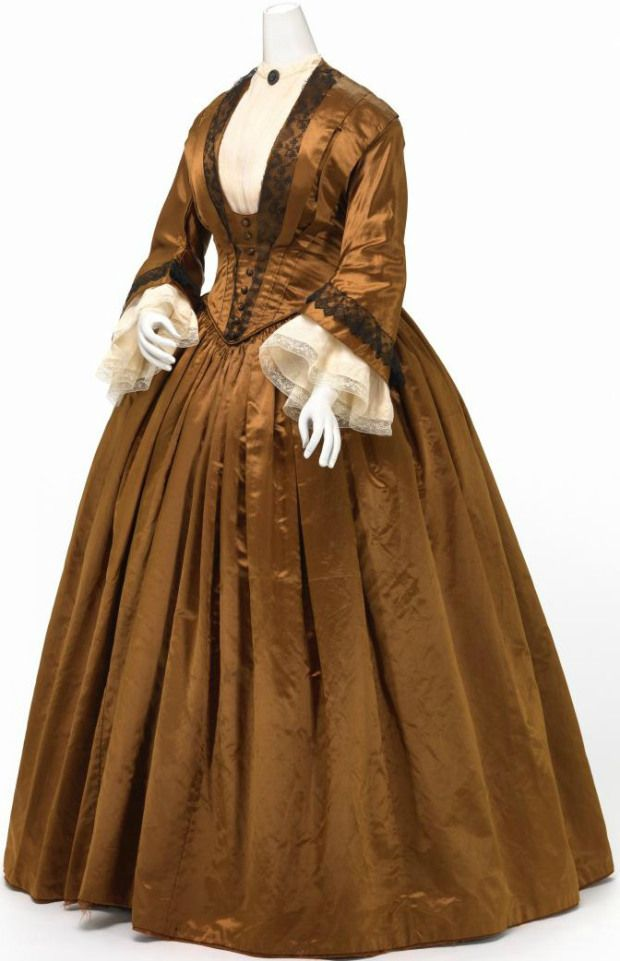 The 1840s in Fashionable Gowns: A Visual Guide to the Decade 1845-1850 Silk Gown.(Image via National Gallery of Victoria, Melbourne)