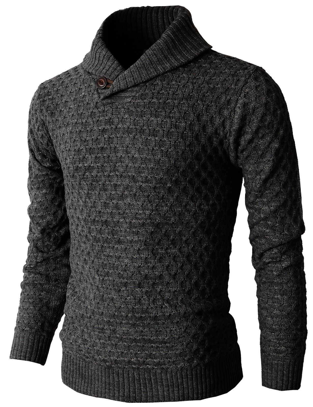 Mens Causal Knit Pullover Sweater With Hexagon Pattered Long ...