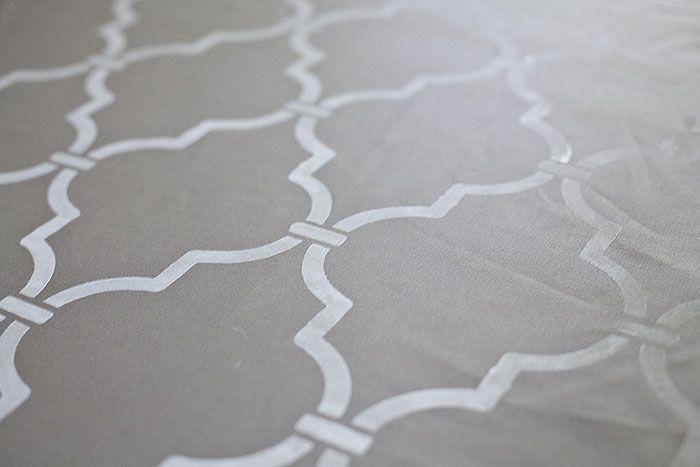 Gray Morroccan Tile Stenciled Fabric
