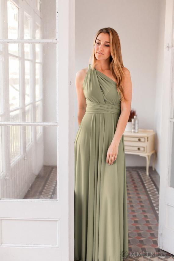 1a9e3c91f2e1 Moss green infinity dress, long light green dress, Light khaki green dress,  Olive green bridesmaid d