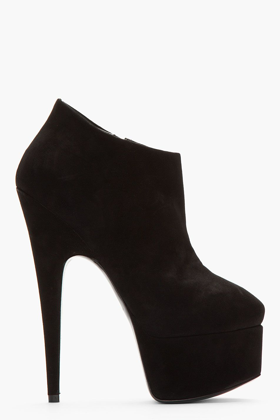 GIUSEPPE ZANOTTI Black Suede Ankle high pumps