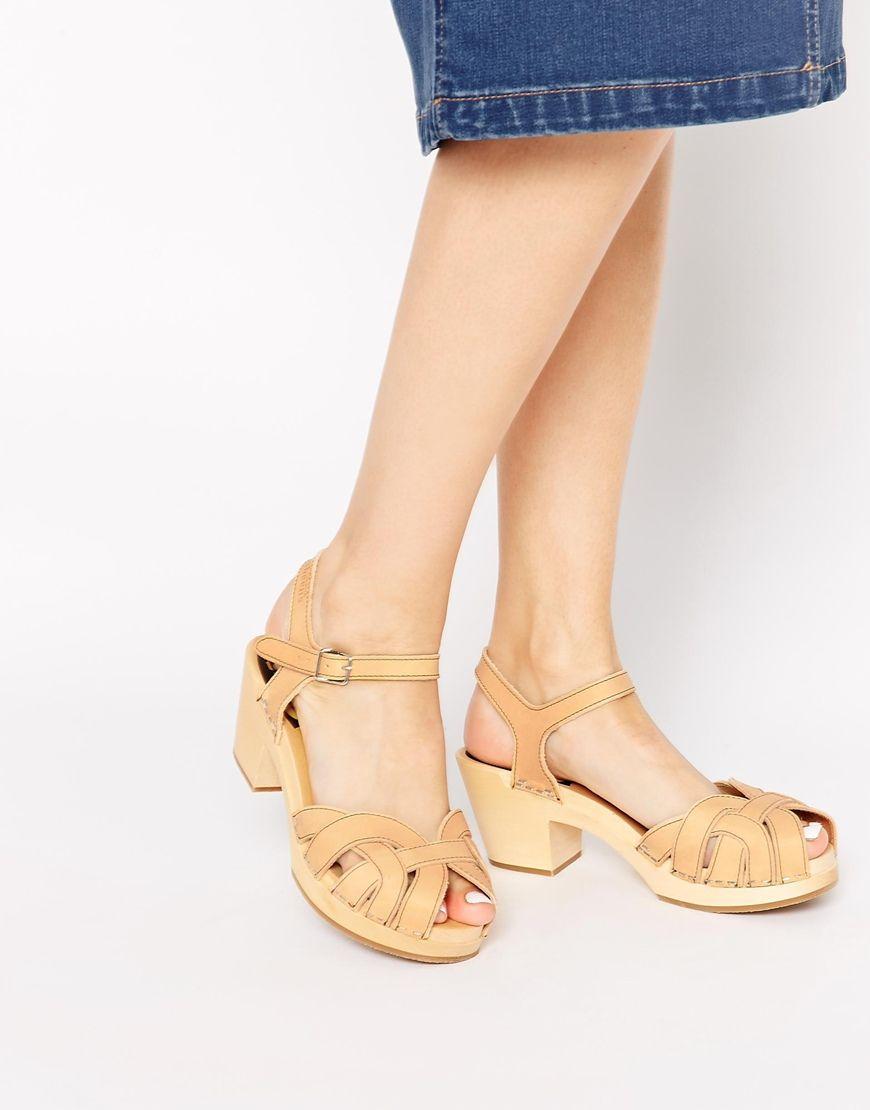 Swedish Hasbeens Natural Pearl Mid Heel Sandals at asos.com
