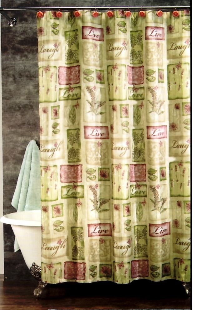 Live Love Laugh Pink Green Floral Fabric Shower Curtain 12 Hooks