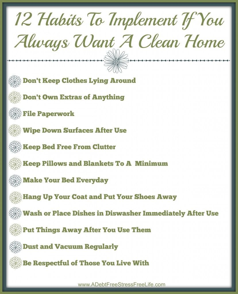 the 12 habits of people who always have a clean home checklist  free printable