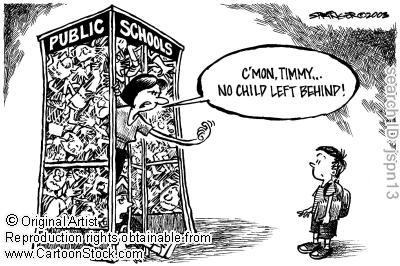 This is another cartoon representing No Child Left Behind