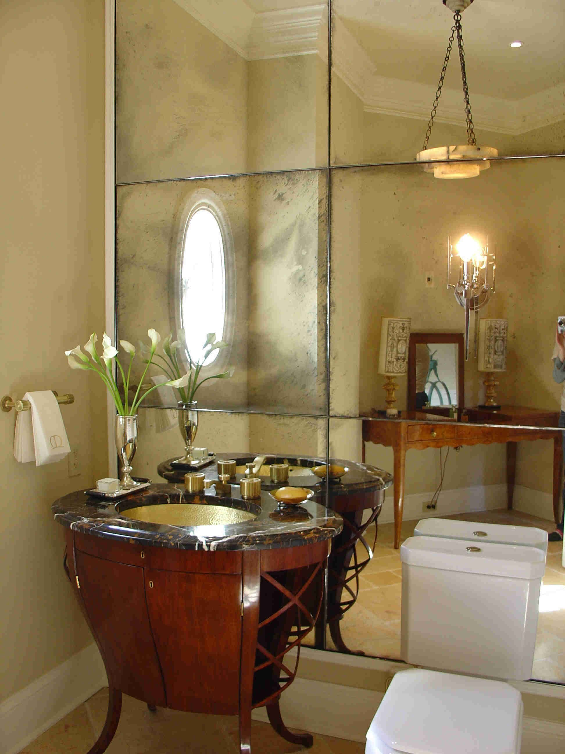 Bathroom Attractive Powder Room Ideas With Towel Hanger And Rectangle Mirror White Frames