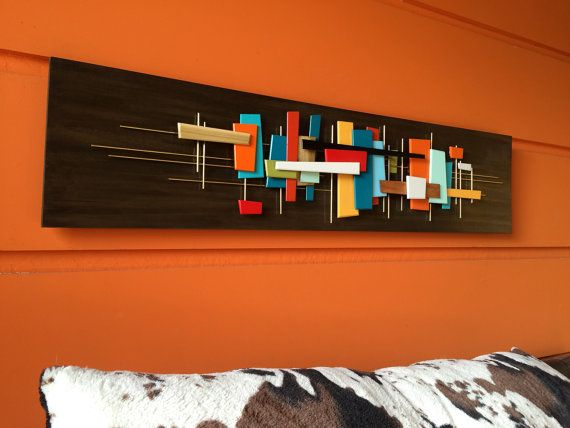 Mid Century Modern Abstract Wall Art Sculpture Painting Retro Eames ...