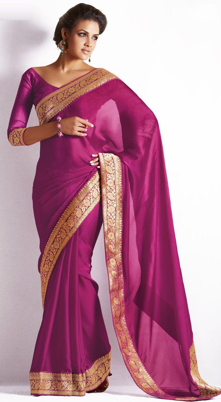 c264d7fa29 Elegant Pink Silk Saree with Golden Border | Agni Sarees in 2019 ...