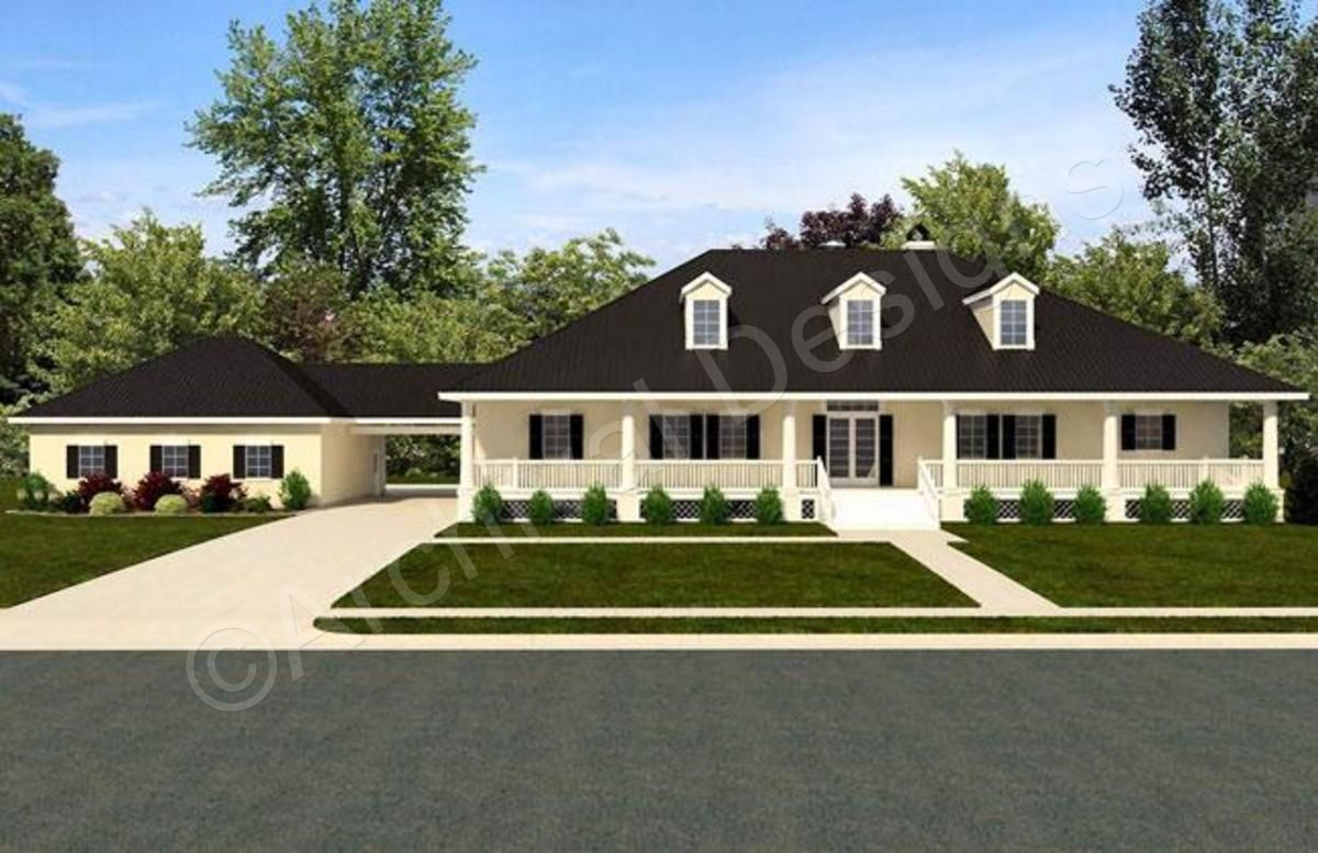 Williamsburg House Plan Williamsburg House Plan Front View Rendering Archival Designs Modern Farmhouse Plans Farmhouse Plans Garage House Plans
