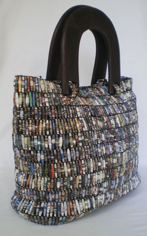 Handmade Bag Made From Beads Hand Rolled Recycled Magazine Paper