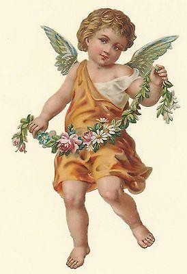 """009 Alte Oblaten Glanzbilder """"Zwei Engel mit Girlande"""")( 12 x 7,5 cm)1880/1890"""