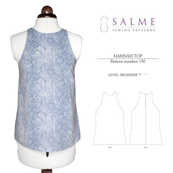 PDF Sewing pattern Hannah Top by Salmepatterns on Etsy, $7.00 ...