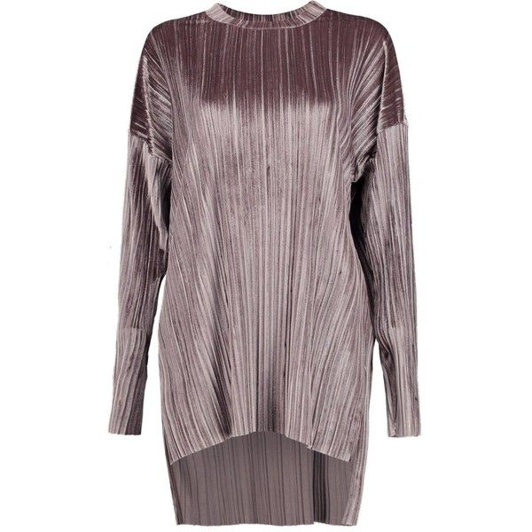 4194b7d2bdff65 Boohoo Cara Boutique Pleated Velvet Dip Back Tunic Top (245 EGP) ❤ liked on Polyvore  featuring tops
