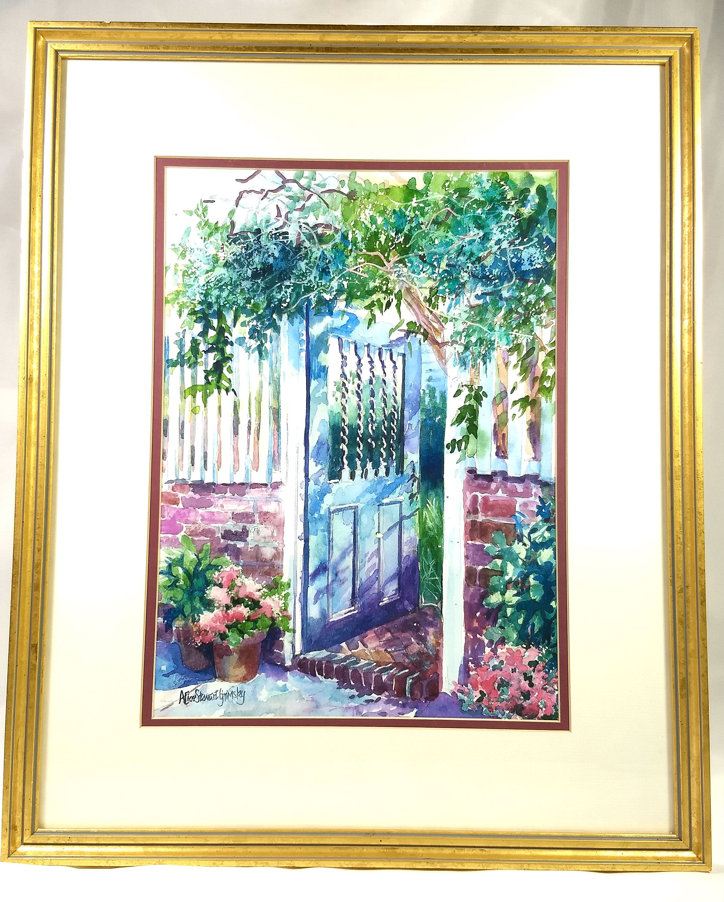 Vintage Original Watercolor Signed Alice Stewart Grimsley Blue